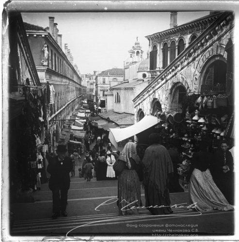 Венеция. Вид с Риальто на Merceri». Сентябрь 1900. Италия, Венеция. chelnokov-kassetachelnokov-kasseta-37-566-r